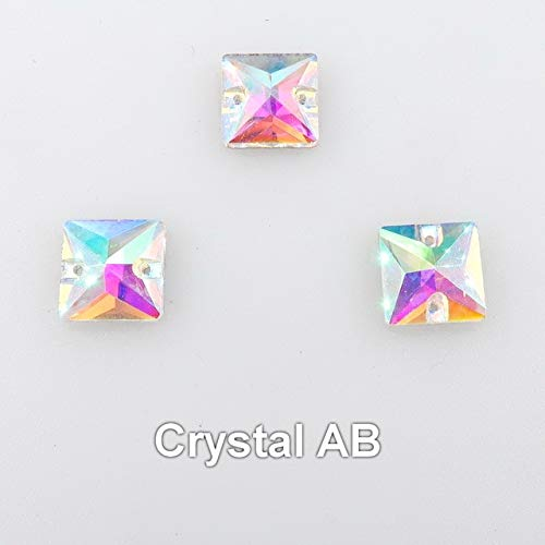Pukido Square Shape Flat Back with Two Holes Glass Crystal 6 Sizes Sew on Rhinestone Crystals Bead Wedding Dress Shoes Bags DIY Trim - (Color: A2 Crystal AB, Size: 10x10mm 20pcs)