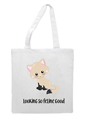 White 7 Cute Looking Tote Shopper Feline Statement Bag So Cat Good vSdqv
