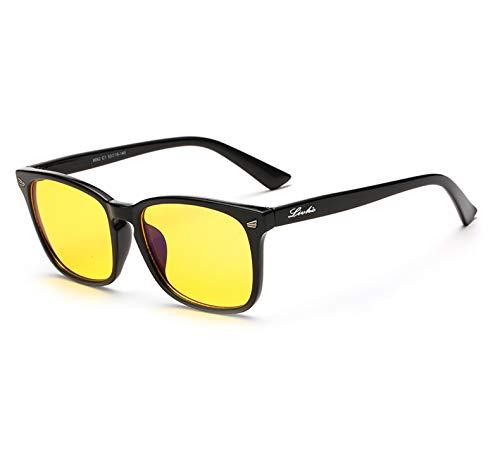 Livho HD Night Vision Driving Glasses Anti-Glare Blue Light Blocking & Computer Gaming Glasses for Men Women - Prevent Digital Eyestrain - 0.0 Magnification ()