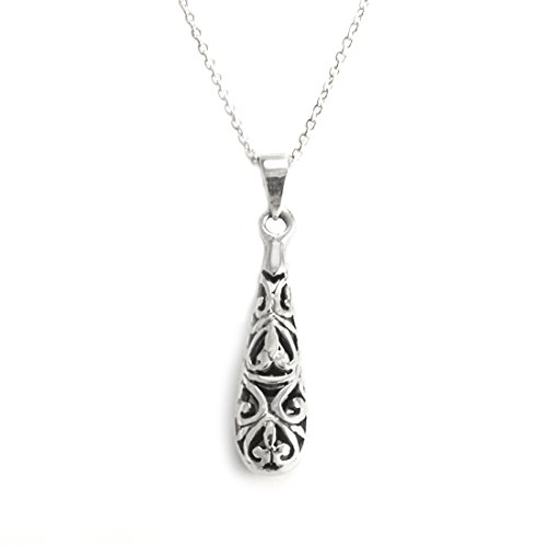 Long Drop Italian Silver Sterling (Silverly Women's .925 Sterling Silver Teardrop Filagree Pendant Chain Necklace, 46 cm)