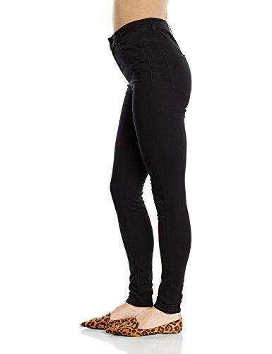 VERO MODA Vmnine Hw Ss Smooth Jeans Black Noos, Mujer Negro (Black)
