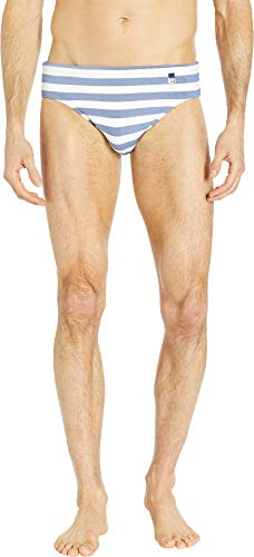 hom Men's Rivages Swim Mini Briefs White/Blue - Swimwear Mens Hom