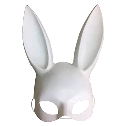 Yeefant Halloween Masquerade Mask, Bunny Girl Rabbit Ear Plastic Mask Adult Costume Decoration, 14.96 x 7.87 inch, White]()
