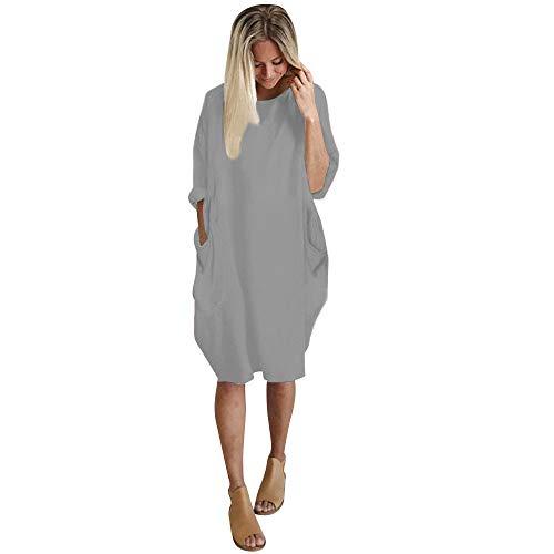 iLUGU Neutral Knee-Length Dress for Women Long Sleeve Boatneck Solid Color Pocket Long Tops Plus Size Gray