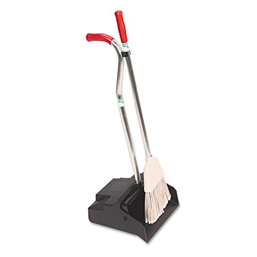 Unger EDPBR Ergo Dustpan With Broom, 12 Wide, Metal w/Vinyl Coated Handle, Red/Silver - Unger Ergonomic Broom