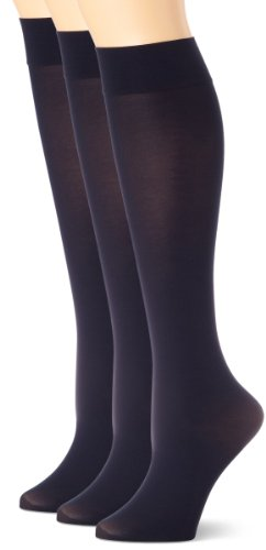 HUE Women's Soft Opaque Knee High Socks (Pack of 3),Navy,1