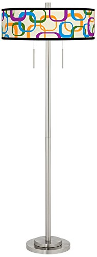 Retro Square Scramble Taft Giclee Brushed Nickel Floor Lamp - Exclusive Custom Giclee Shade