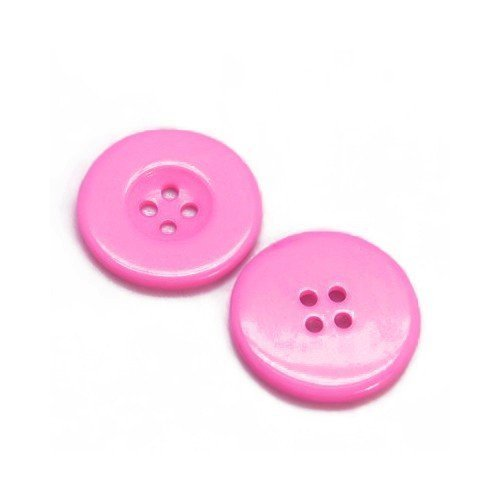 Packet of 10 x Dark Pink Resin 30mm Round Buttons (4 Hole) - (HA10220) - Charming Beads Something Crafty Ltd