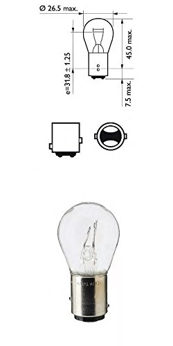 10 St/ück Glassockellampe P21//5W Gl/ühlampe Dual Sockel 12V 5W KFZ Beleuchtung Gl/ühbirne BAY15d Soffitte LONGLIFE Autolampen 21//5W 2-Phasen Lampen