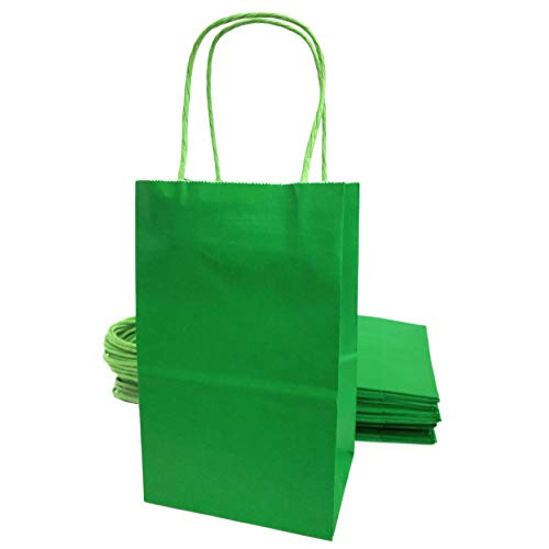 Kelkaa Party Kraft Bags 24pcs 5.25x3.5x8.5 Inches, Paper Bags with Handles for Birthday, Wedding Party Favors, Bachelorette Party, Paper Tote Bags for Any Party Themes, Small Green (Green Paper Favor Bags)