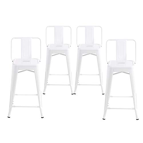 24in Bar - Buschman Set of 4 White 24 Inch Counter Height Metal Bar Stools with Medium Back Indoor Outdoor