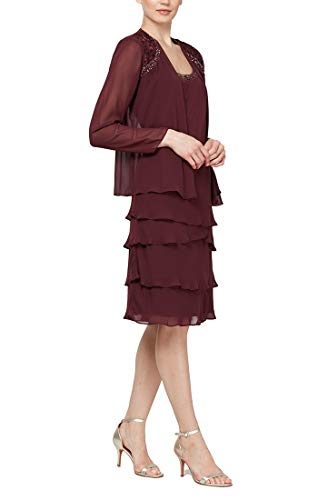 - S.L. Fashions Women's Embellished Tiered Jacket Dress (Petite and Regular), Fig, 12