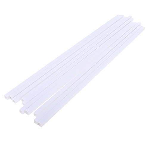 MagiDeal 10X/Pack ABS Plastic Square Tubes Rods for Mini Landscape Building 500x8mm