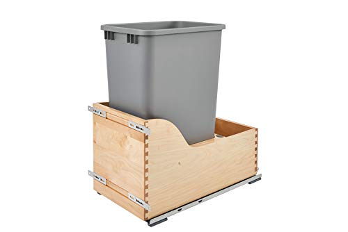 (Rev-A-Shelf - 4WCSC-1550DM-1 - Single 50 Qt. Pull-Out Bottom Mount Wood and Silver Waste Container with Soft-Close Slides )
