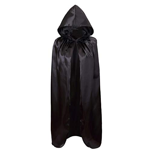 - Meeyou Deluxe Satin Cloak, Hooded Cape for Boys & Girls Halloween Costume( 40 inches,Black)