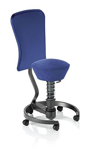 Aeris swopper WORK ergonomischer Bürostuhl mit Rollen   Sitzbezug Mikrofaser Schwarz   Feder medium (60-120 kg)   Basisfarbe Titan   Höhenverstellbarer Drehstuhl, Computerstuhl, Drehhocker