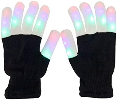 Aomeiqi Guantes LED con Iluminaci/ón Guantes de Invierno para Adultos Guantes Parpadeantes de Luz para Dedos Guantes Coloridos para la Navidad Fiestas Ciclismo Baile Cumplea/ños Discotecas Negro