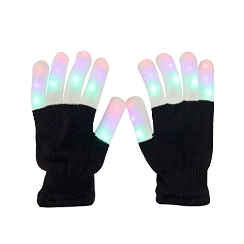 Aomeiqi LED Gloves, Finger Light Gloves Colorful 6 Modes for Dance Party Halloween Light Show Rave Cycling Black
