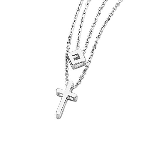 - Furious Jewelry 925 Sterling Silver Square & Cross Pendant Double Layered Chain Necklace for Lady Women