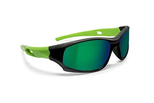 Bertoni Kids Sport Sunglasses - Polarized Lens Antiglare 100% UV Protection - Unisex Children 4-10 Years Sunglasses Kid Italy (Black/Green)