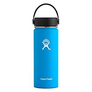 Hydro Flask 18 oz Double Wall Vacuum Insulated Stainless Steel Leak Proof Sports Water Bottle, Wide Mouth with BPA Free Flex Cap, Pacific