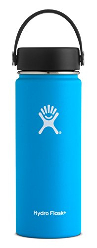 Wide Cap (Hydro Flask 18 oz Double Wall Vacuum Insulated Stainless Steel Leak Proof Sports Water Bottle, Wide Mouth with BPA Free Flex Cap, Pacific)