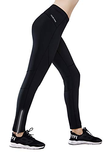 HISKYWIN Petite/Regular/Tall Womens Thermal Fleece Lined Cycling Tights Winter Running Leggings with Zip Pocket, Not Padded Black-M