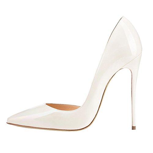 EKS - Zapatos de Tacón Mujer White-Lackleder