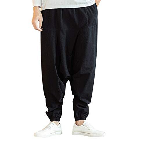 Men Harem Pants Casual Yoga Elastic Waist Solid Color Loose Linen Hip Hop with Pocket (Asian Size:XL, -