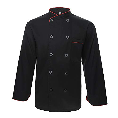 TopTie Unisex Long Sleeve Button Chef Coat, Black with Red by TopTie