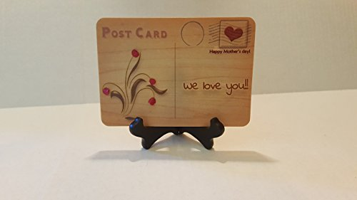 UNIQUE Mother's day WOOD Cards, bunch of handmade flowers STAY FOREVER. 5 X 7, card Comes with a table top easel stand  envelope. You can WRITE, SIGN…