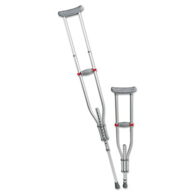 Medline - Quick Fit Push Button Aluminum Crutches, Adjustable, 4'7