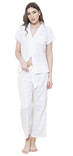 Cottonreal Peace Peri 100% Cotton Lawn Ladies White Pyjama Set e7c2a9587