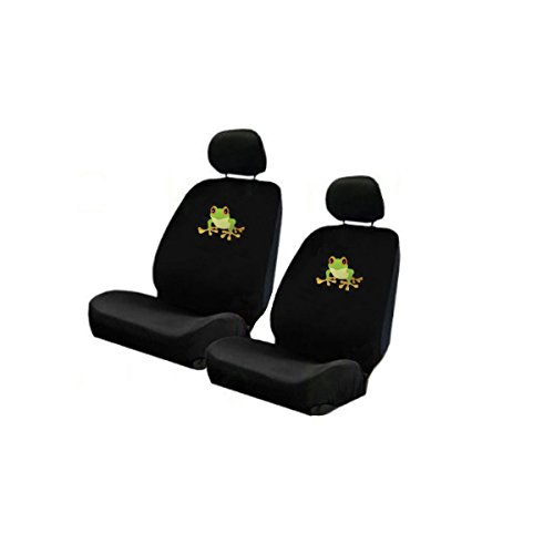 Frog Car Seat Cover (Two Universal Fit Lowback Front Bucket Seat Covers - Green Tree Frog)