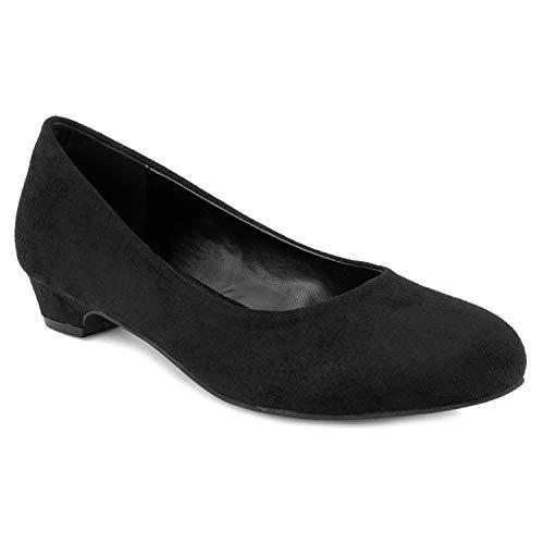 Women's True Wide Width Low Walking Heel Comfortable Dress Pumps - Plus Size Friendly Black (8.5) (Best Walking Shoes For Obese Women)