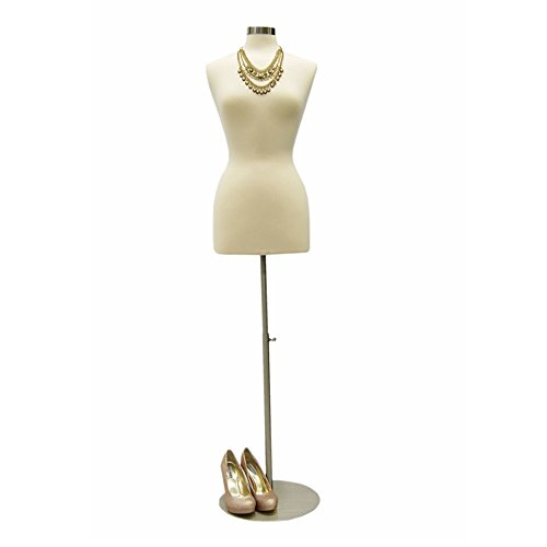 (JF-FWP-W+BS-04) Size 6-8 Premium White Female Fully Pinnable Mannequin Dress Form with Round Brushed Metal Base and Neck Top.