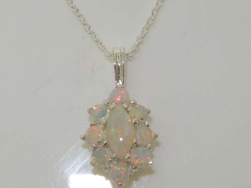 Pendentif Femme de Luxe Argent 925/1000 - Opale - Parfait pour Noël, Anniversaire, Anniversaire de mariage ou Fêtes des Mères