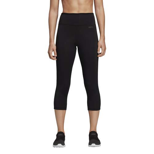 adidas Women's Design 2 Move 3/4 Length 3-stripes Tight, Black/White, Small