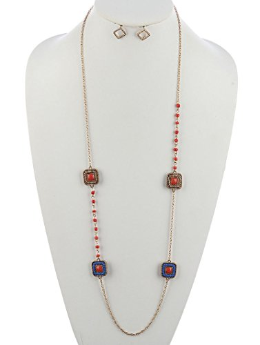 - Coral Red square multi strand necklace and earring set Fashion Jewelry FancyCharm