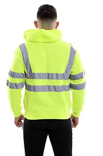 À Vêtements Salut Et Zip Friendztrendz Sweat Polaire Visibility Viz Sécurité De Travail Green Pullover Vis Réfléchissant Up Capuche Jumper awwpOd