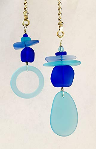 Sea Glass Fan Pull Set Recycled Bottle Turquoise Cobalt Blue Island Decor Beach Artsy Handmade (Turquoise Handcrafted Lamp)
