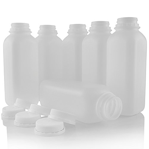 Pinnacle Mercantile Empty Plastic Smoothie Juice Bottles 16 ounce Set 6 Tamper Evident Caps ()