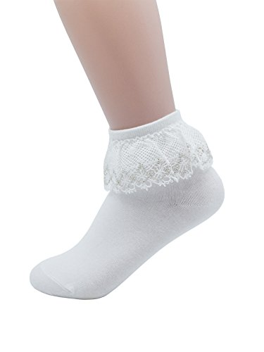 (YJLSO Women Lace Ruffle Frilly Cotton Socks Princess Socks Ankle Socks L3 (White -1 pairs),One Size)