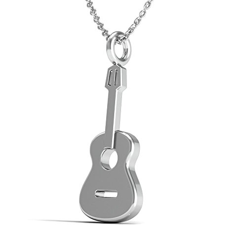 The Best Guitar Pendant Necklace.925 Sterling Silver 18 Inch Necklace with Acoustic Guitar Charm Pendant