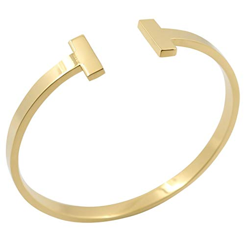 Designer Inspired Titanium Steel T Open Cuff Bangle Bracelet Unisex Mens Womens (Gold)