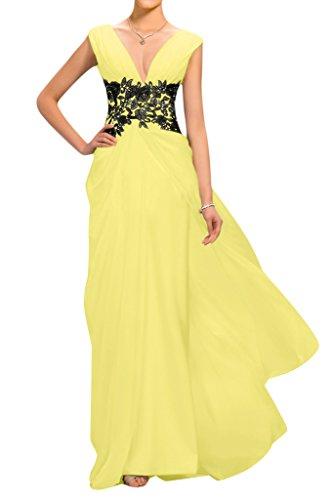 sunvary gasa y appliques cuello en V Dama De Madre de la novia Vestidos amarillo