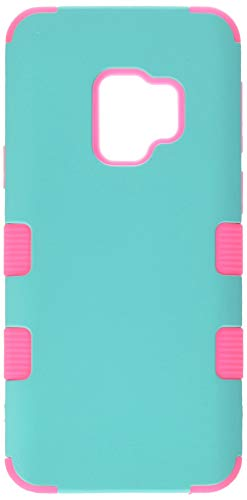 MyBat TUFF Hybrid Phone Protector Cover - Samsung Galaxy S9 - Rubberized Teal Green/Electric Pink