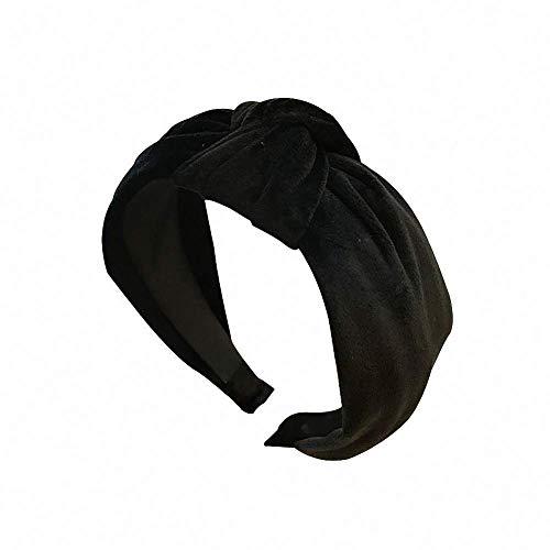 Velvet Knot - Simple Velvet Cross Hair Hoop Retro Middle Knot Wide Edge Headband (Black)