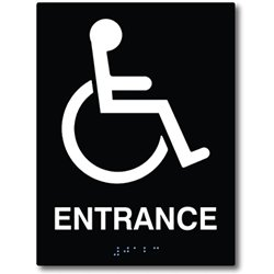ADA Compliant Accessible Entrance Sign with Braille II, 6''x9'' Acrylic (Black)