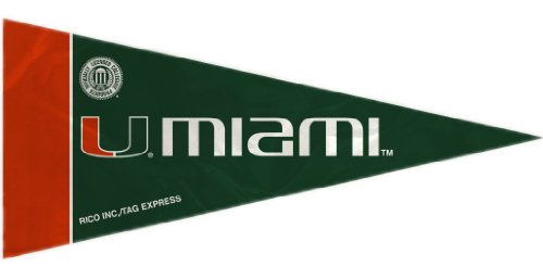 Rico NCAA Miami 8 Pc Mini Pennant Pack Sports Fan Home Decor, Multicolor, One Size ()